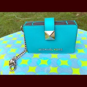 Michael Kors Karla Tile Blue Accordion Card Case
